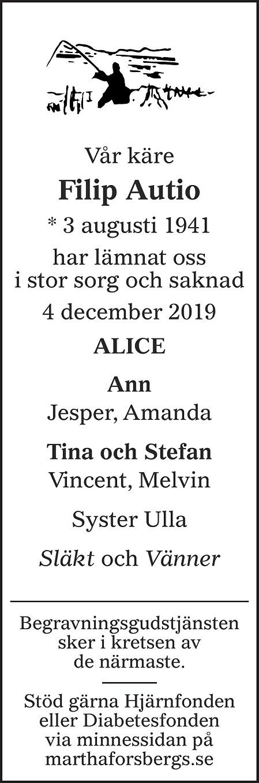 Filip Autio Death notice