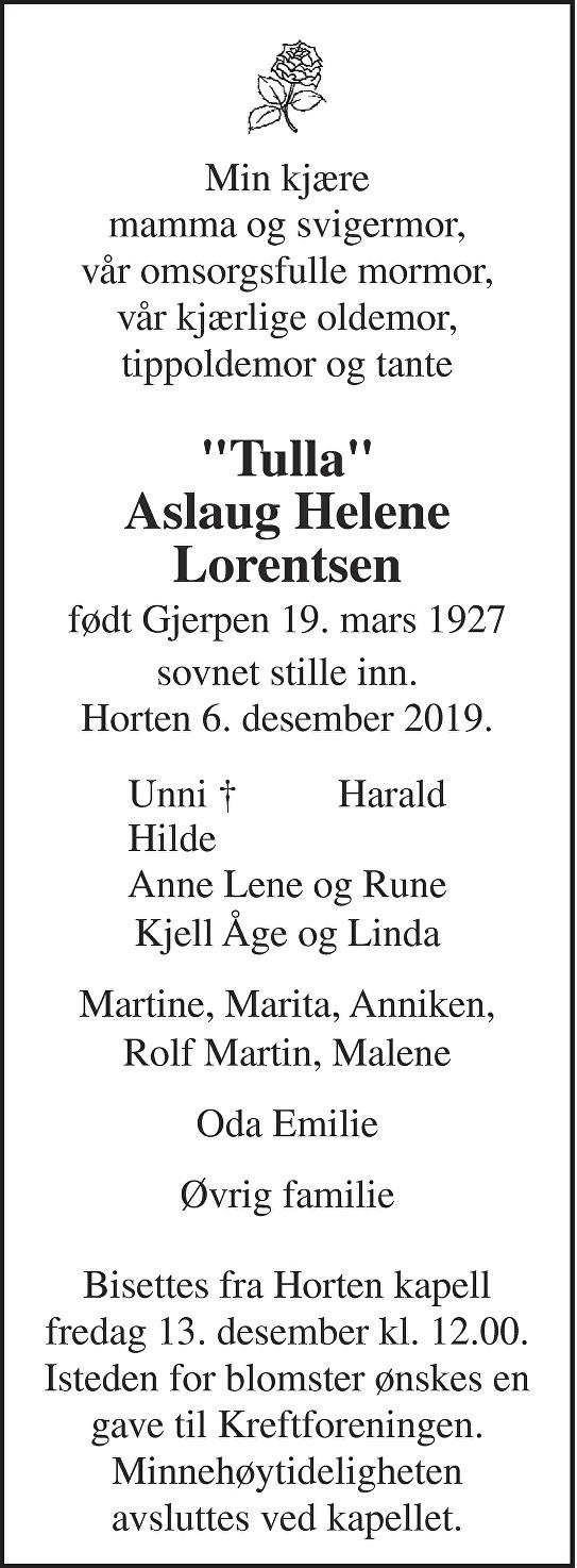 Aslaug Helene Lorentsen Dødsannonse