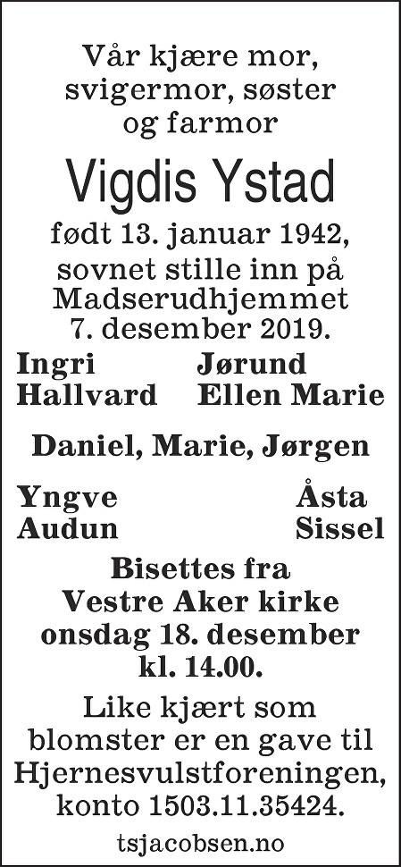 Vigdis Åse Ystad Dødsannonse