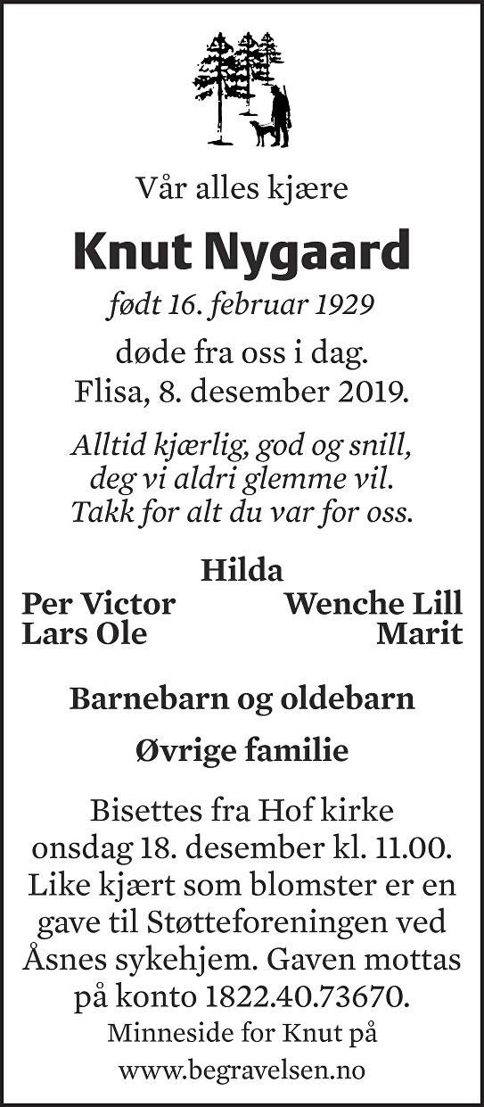 Knut Nygaard Dødsannonse