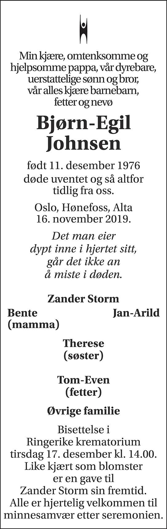 Bjørn-Egil  Johnsen Dødsannonse