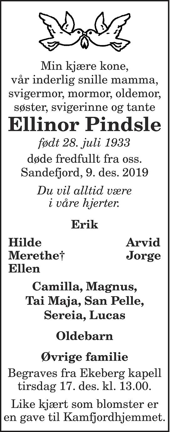 Ellinor Pindsle Dødsannonse