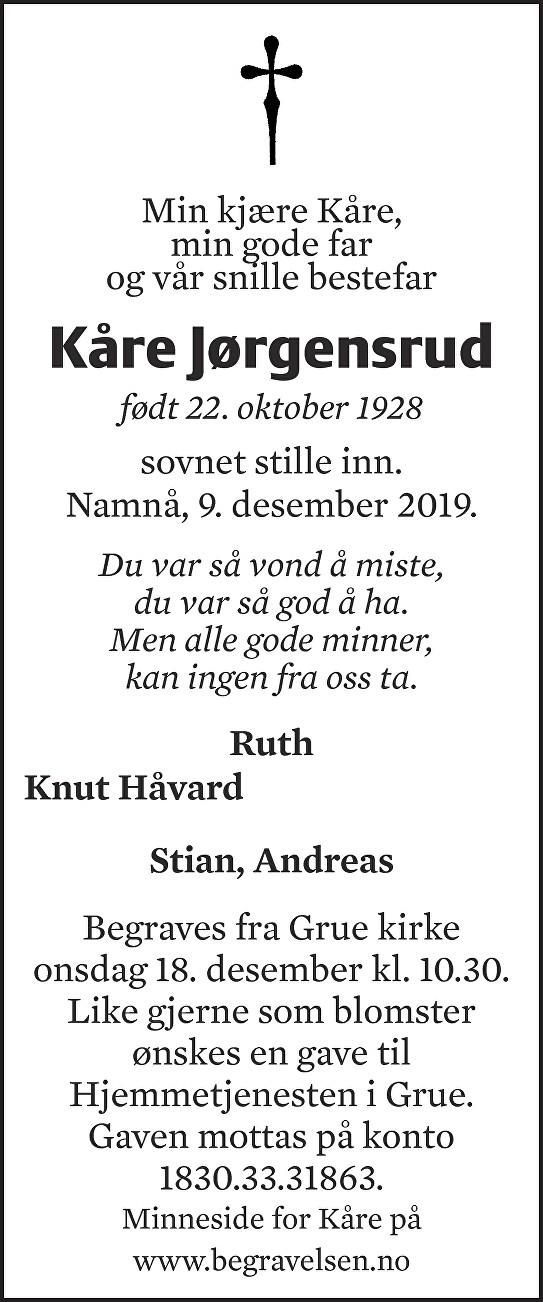 Kåre Jørgensrud Dødsannonse