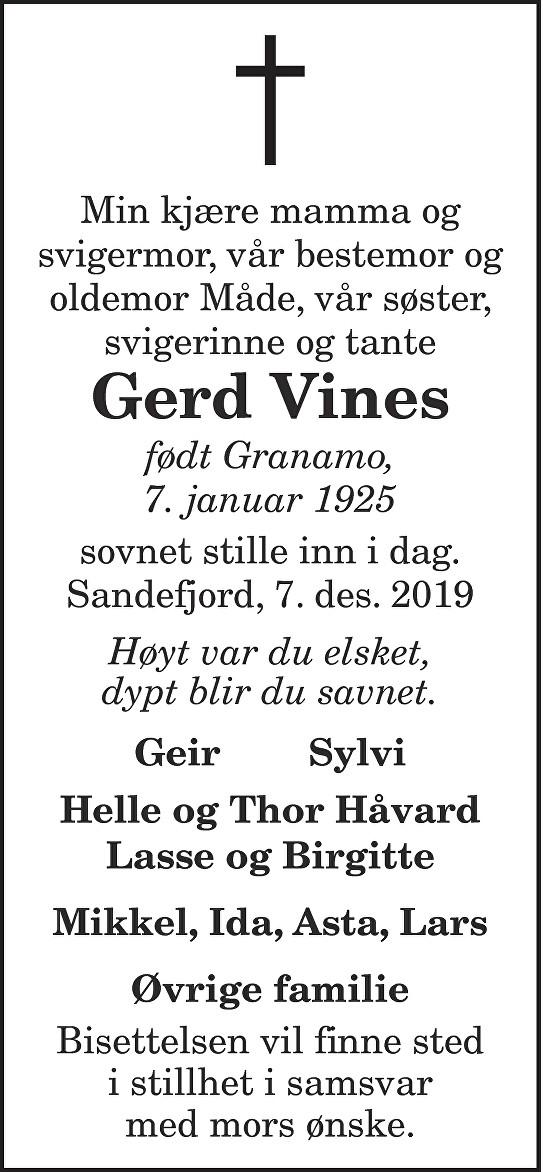 Gerd Vines Dødsannonse