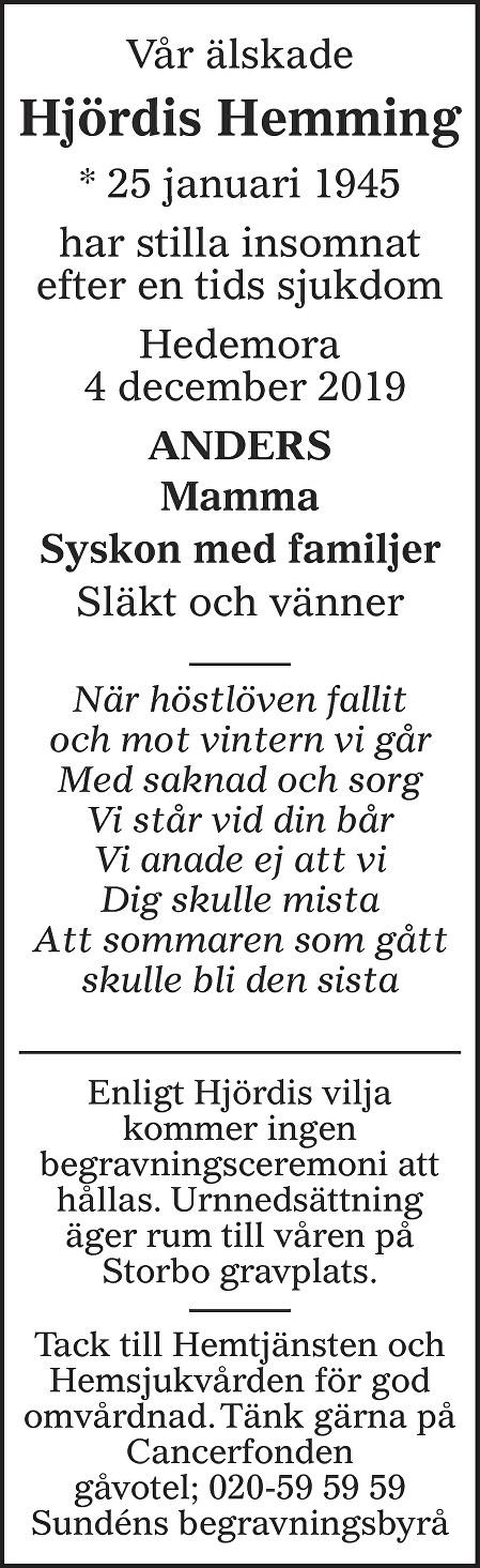 Hjördis Hemming Death notice