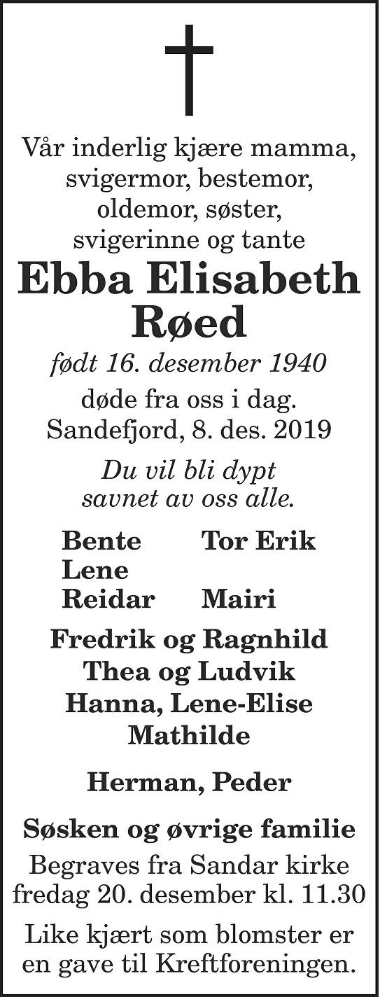 Ebba Elisabeth Røed Dødsannonse