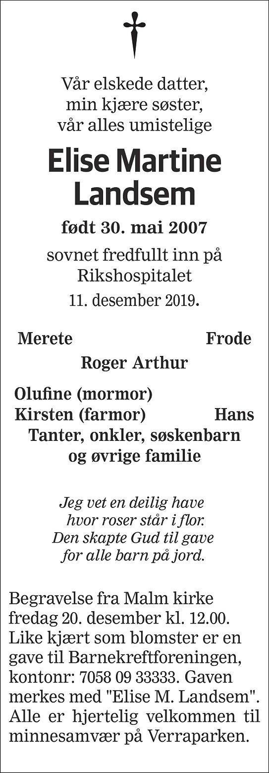 Elise Martine Landsem Dødsannonse