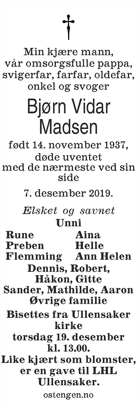 Bjørn Vidar Madsen Dødsannonse