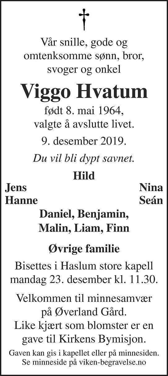Viggo Hvatum Dødsannonse