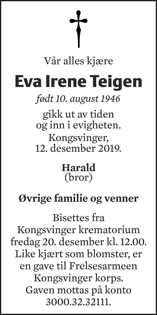 Eva Irene Teigen Dødsannonse