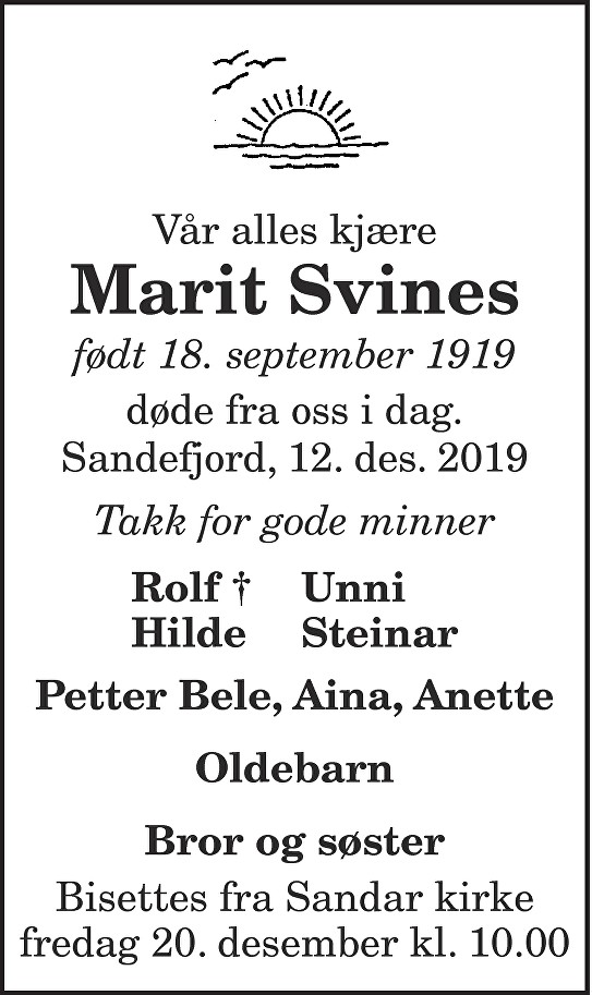 Marit Svines Dødsannonse