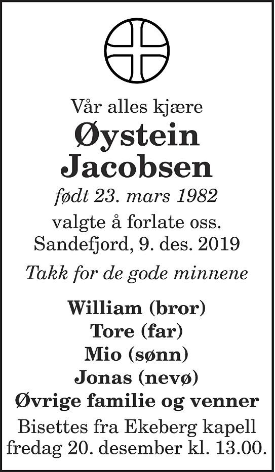 Øystein Jacobsen Dødsannonse