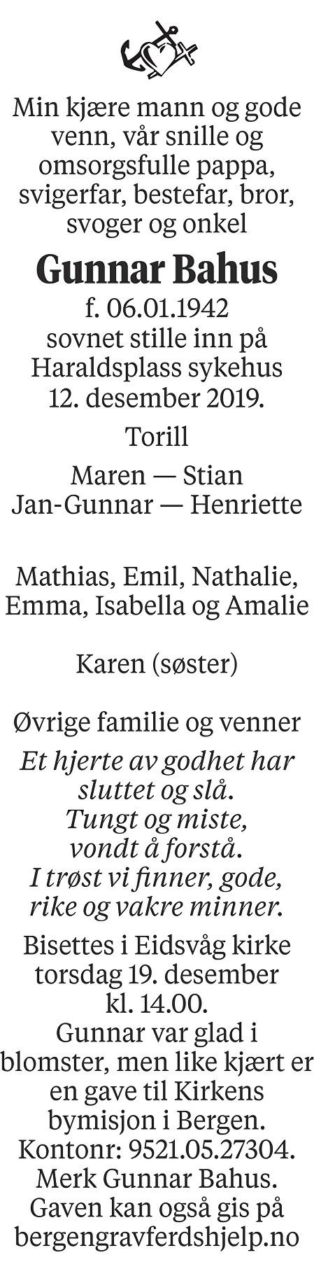 Gunnar  Bahus Dødsannonse