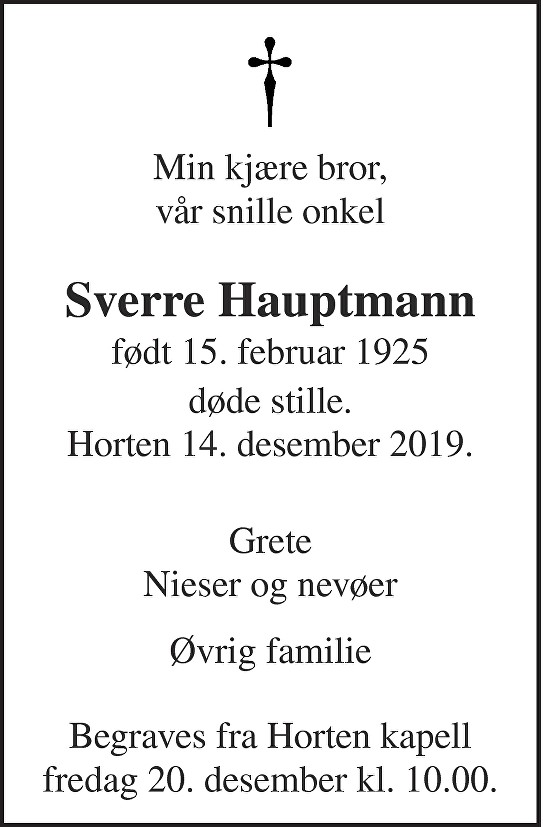Sverre Hauptmann Dødsannonse