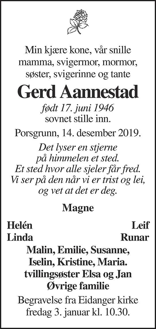 Gerd Aannestad Dødsannonse