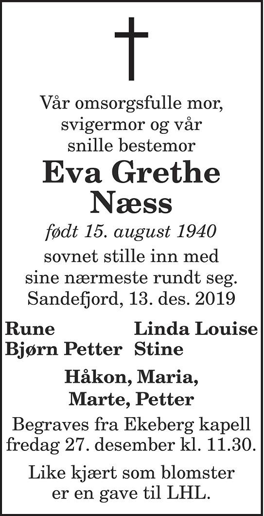 Eva Grethe  Næss Dødsannonse