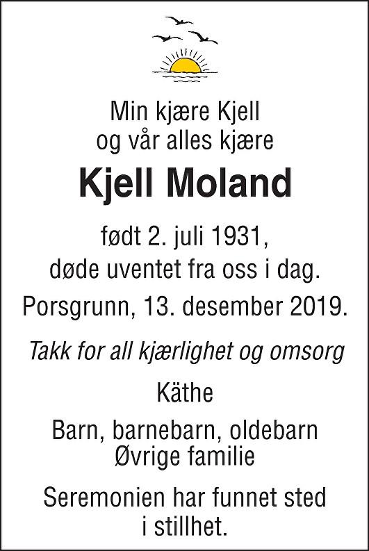 Kjell Didrik Moland Dødsannonse