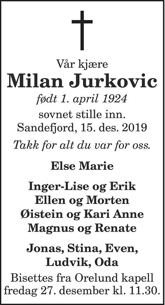 Milan Jurkovic Dødsannonse