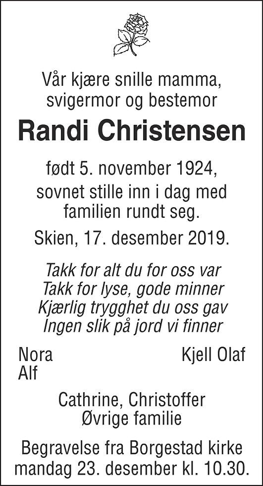 Randi Christensen Dødsannonse