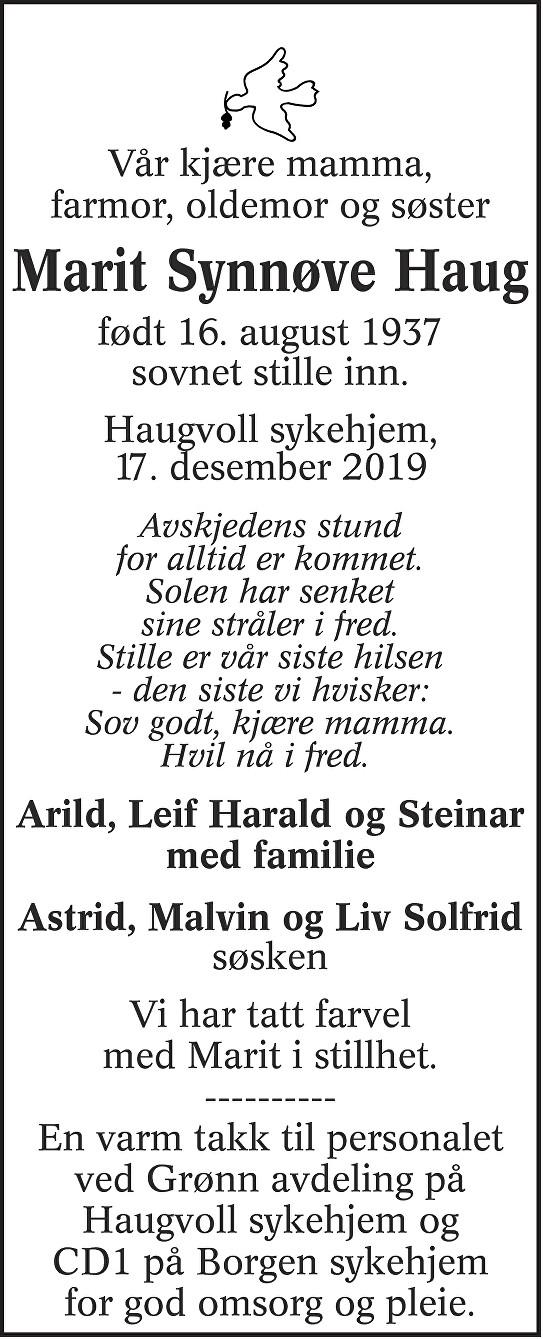 Marit Synnøve Haug Dødsannonse