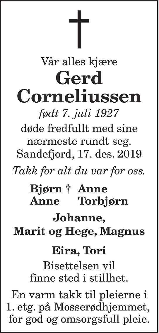 Gerd Corneliussen Dødsannonse