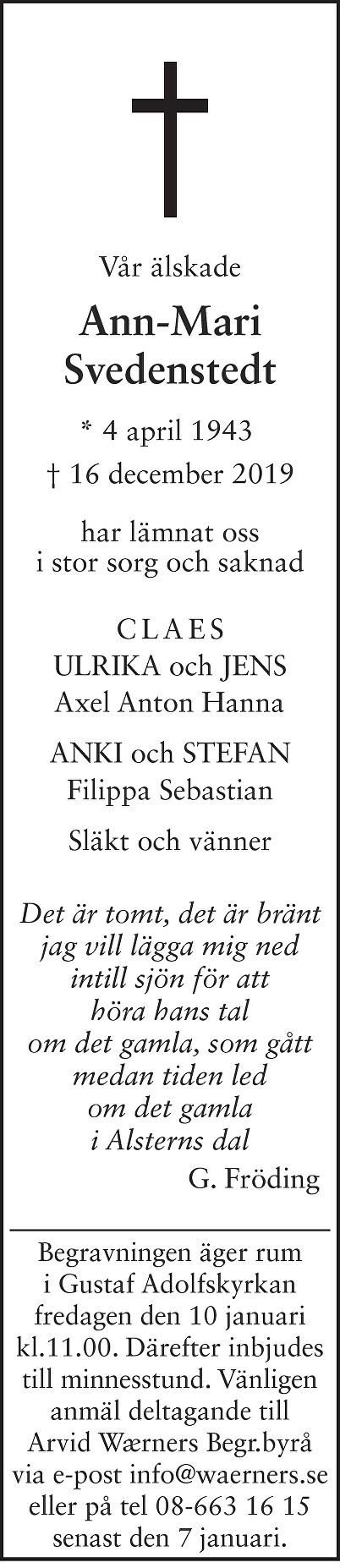 Ann-Mari Svedenstedt Death notice