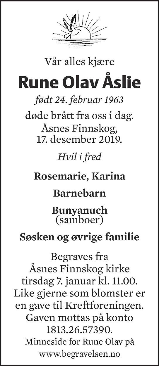 Rune Olav Åslie Dødsannonse
