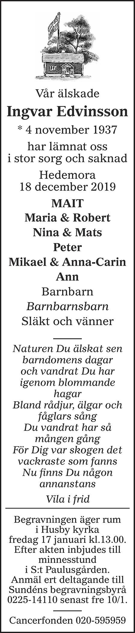 Ingvar Edvinsson Death notice