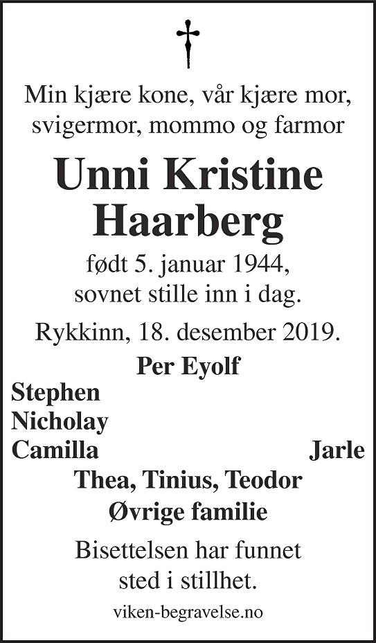 Unni Kristine Haarberg Dødsannonse