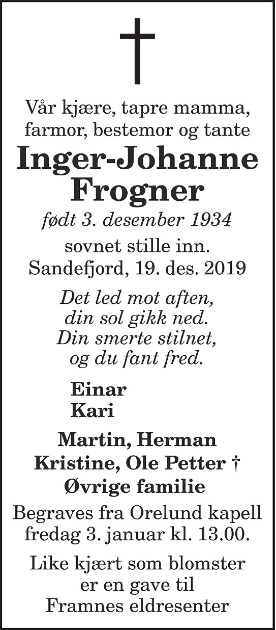 Inger-Johanne Frogner Dødsannonse