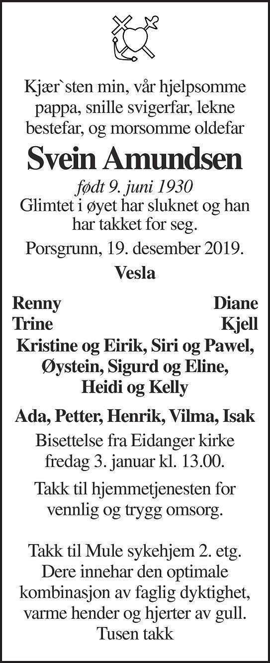 Svein Amundsen Dødsannonse