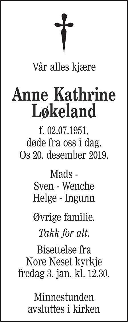 Anne Kathrine Løkeland Dødsannonse