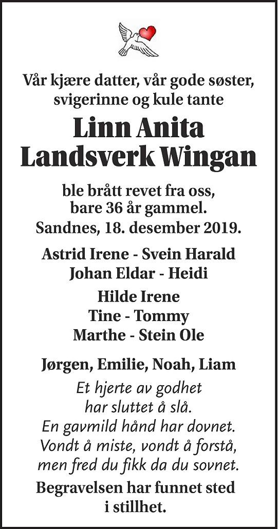 Linn anita Landsverk Wingan Dødsannonse