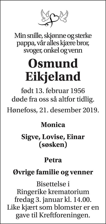 Osmund Eikjeland Dødsannonse