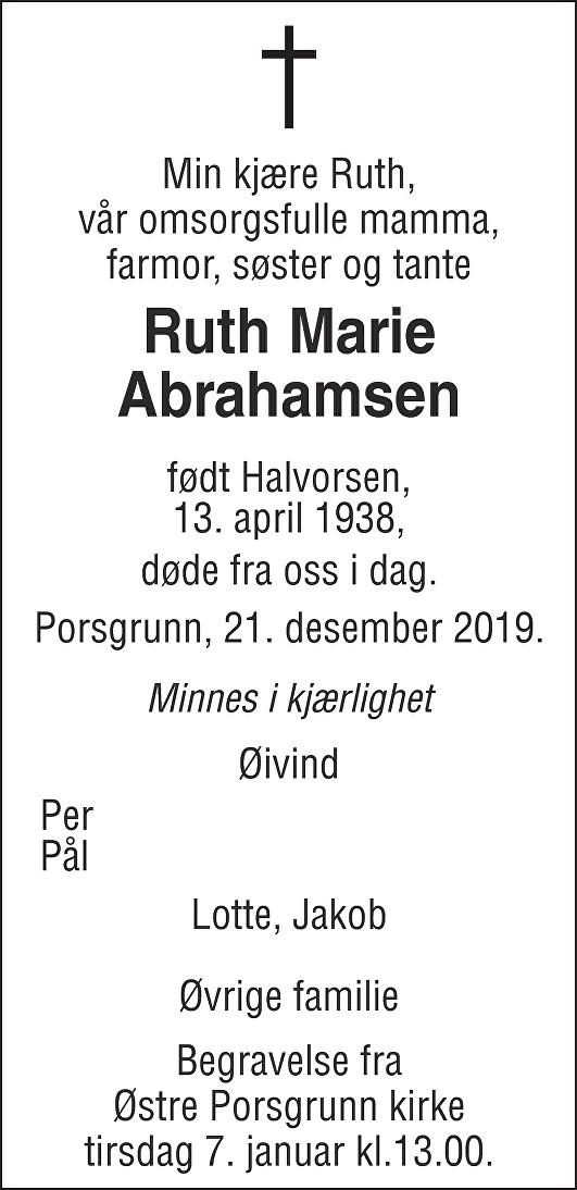Ruth Marie Abrahamsen Dødsannonse