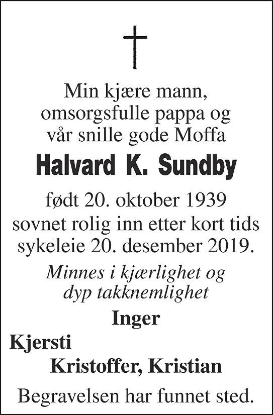 Halvard Kristoffer Sundby Dødsannonse