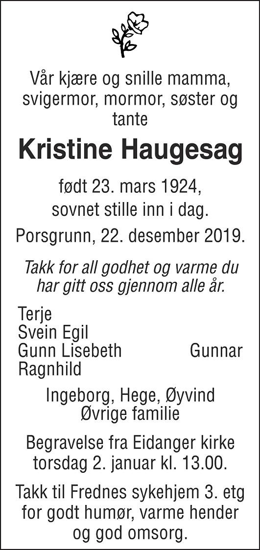 Kristine Haugesag Dødsannonse