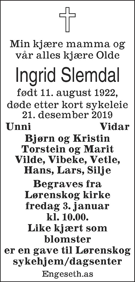 Ingrid Slemdal Dødsannonse