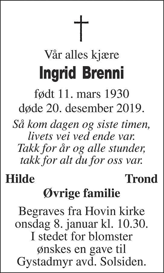 Ingrid Brenni Dødsannonse