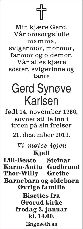 Gerd Synøve Karlsen Dødsannonse