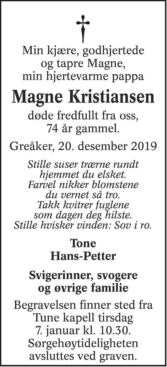 Kai Magne Kristiansen Dødsannonse