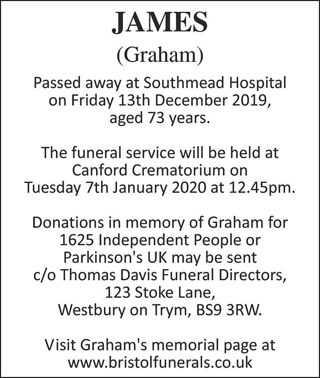 Graham Norman Stephen James Death notice