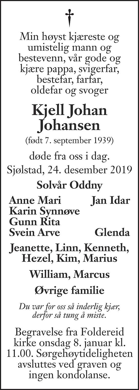 Kjell Johan  Johansen Dødsannonse