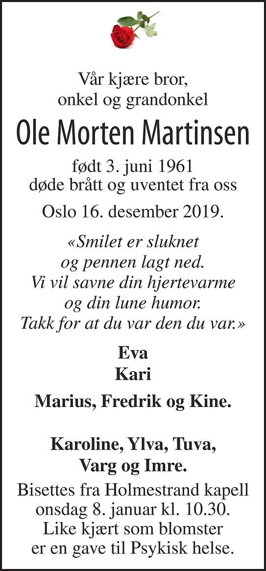 Ole Morten Martinsen Dødsannonse