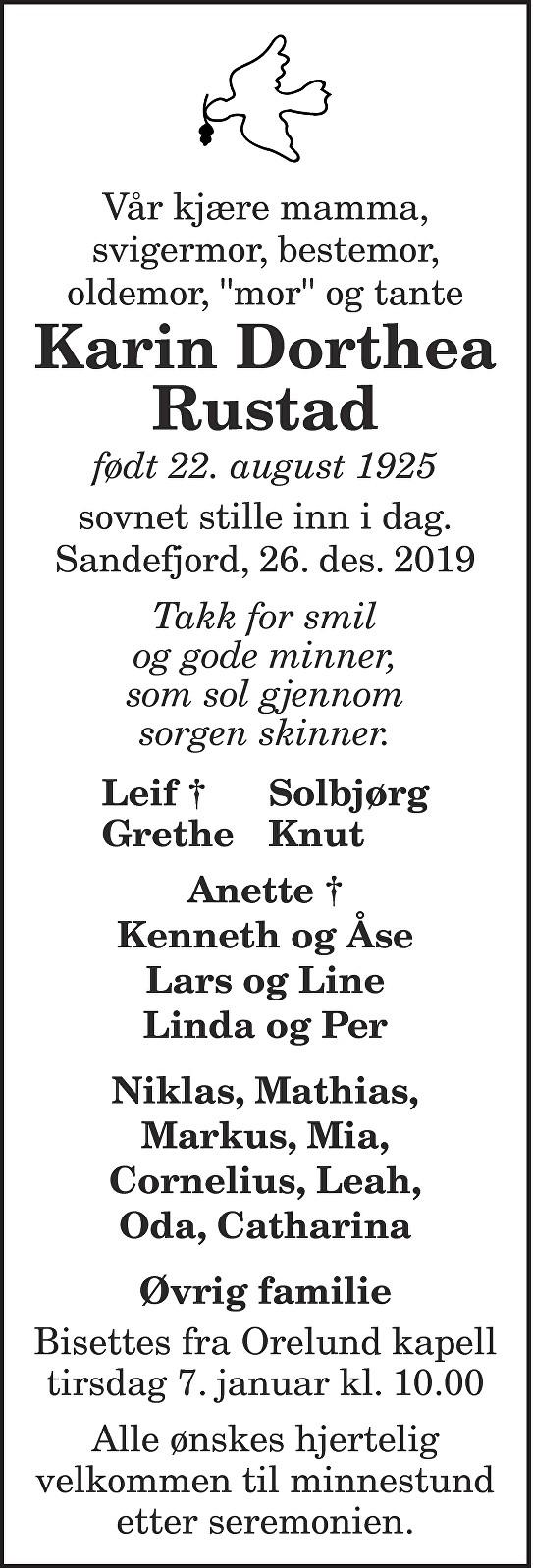 Karin Dorthea Rustad Dødsannonse