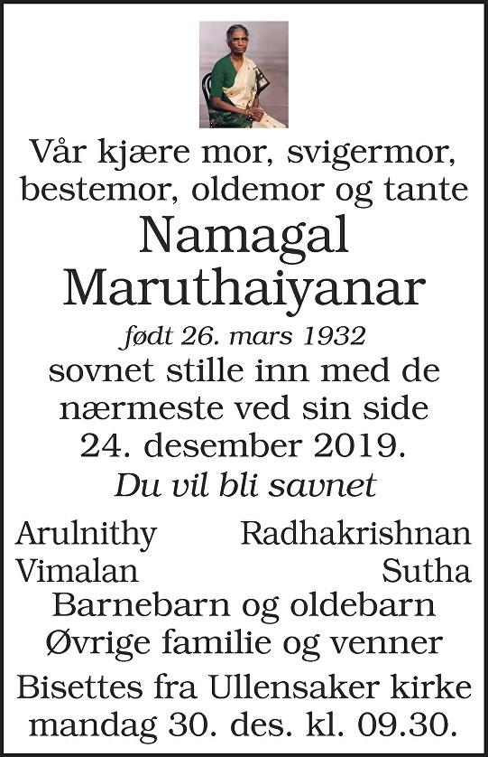 Namagal Maruthaiyanar Dødsannonse