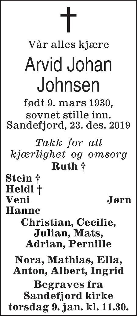 Arvid Johan Johnsen Dødsannonse