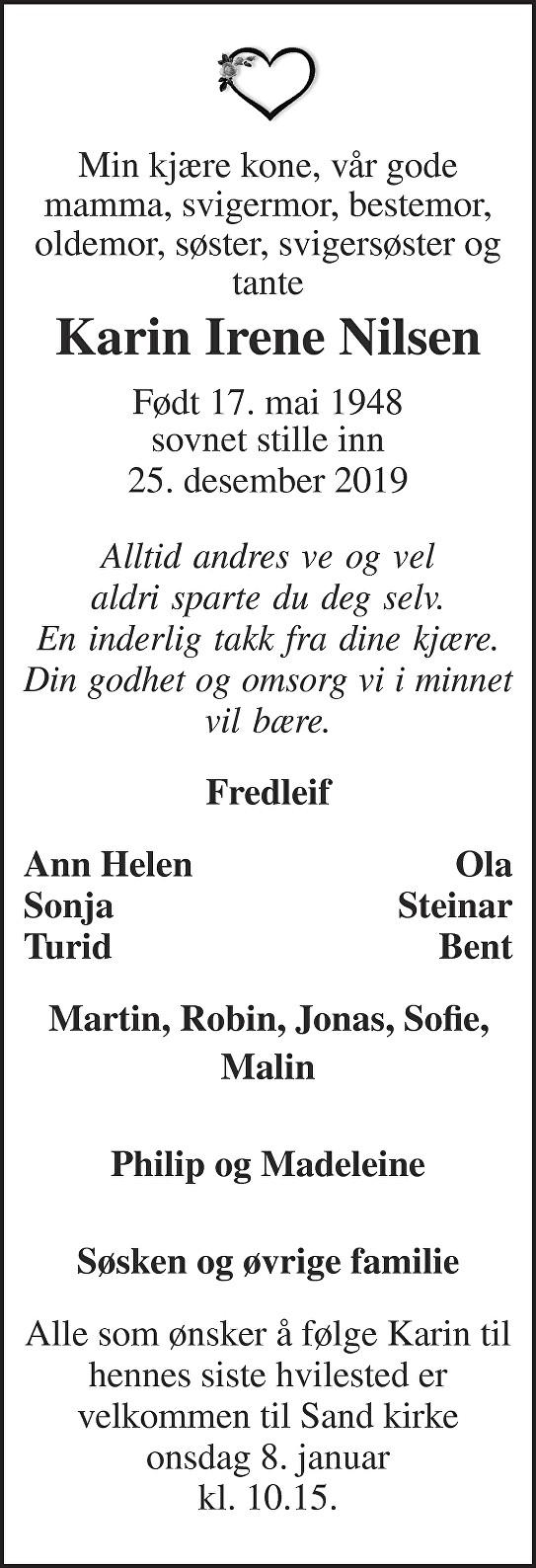 Karin Irene Nilsen Dødsannonse