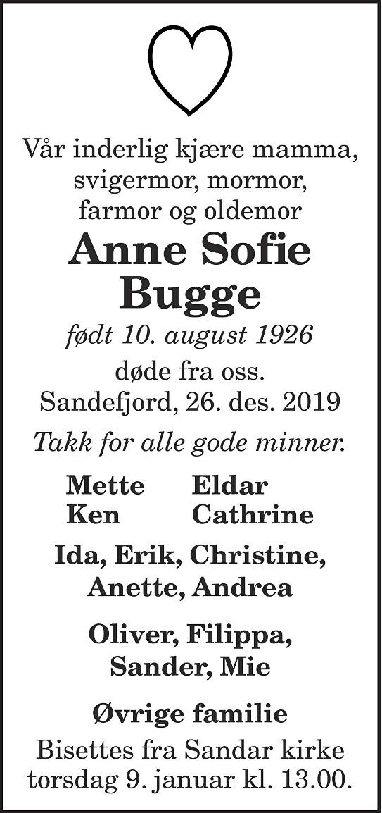 Anne Sofie Bugge Dødsannonse