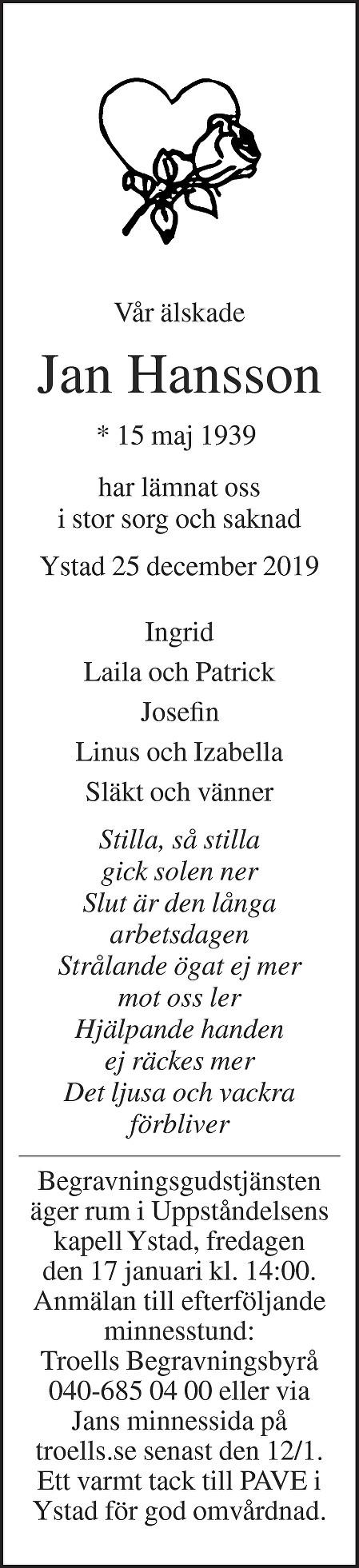 Jan Hansson Death notice